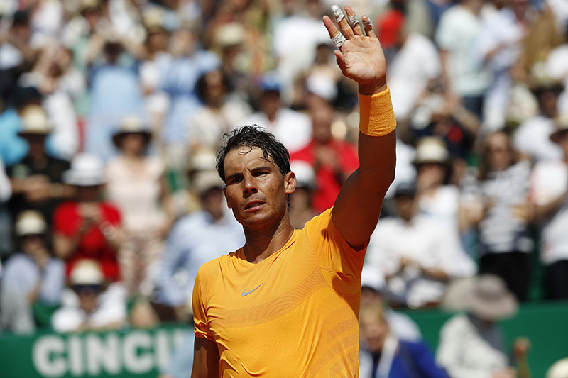 Spain's Rafael Nadal waves to the crowd after winning the semifinal match against Bulgaria's Gregor Dimitrov af the Monte Carlo Tennis Masters tournament in Monaco, on Saturday April 21, 2018. Photo: AP