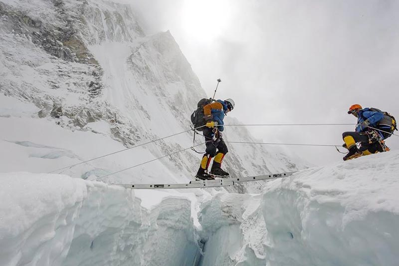 Climbers getting acclimatised above the icefall section on Mt Everest, on Sunday, April 29, 2018. Photo courtesy: Ben Jones