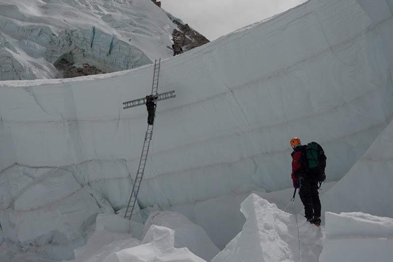 FILE: Icefall doctors preparing a climbing route along the treacherous section above the Base Camp on the way to Mt Everest for spring climbing. Photo courtesy: Nishan Shrestha / SPCC