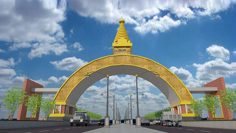 A design of the proposed gate to be built at Belhiya, Rupandehi, unveiled on April 13, 2018. Photo: THT