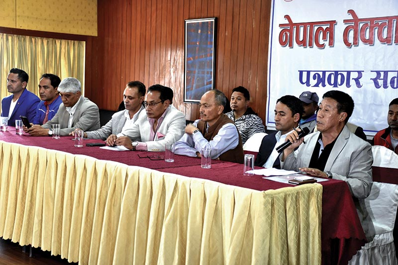 NTA General Secretary Deep Raj Gurung (right) speaks during a press meet in Kathmandu on Sunday. Photo: THT