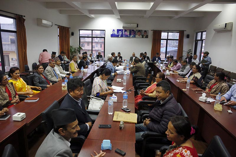 FILE: Nepali Congress leaders attend the Central Working Committee meeting held in the party's central office in Sanepa, Lalitpur, on Sunday, April 29, 2018. Photo: THT