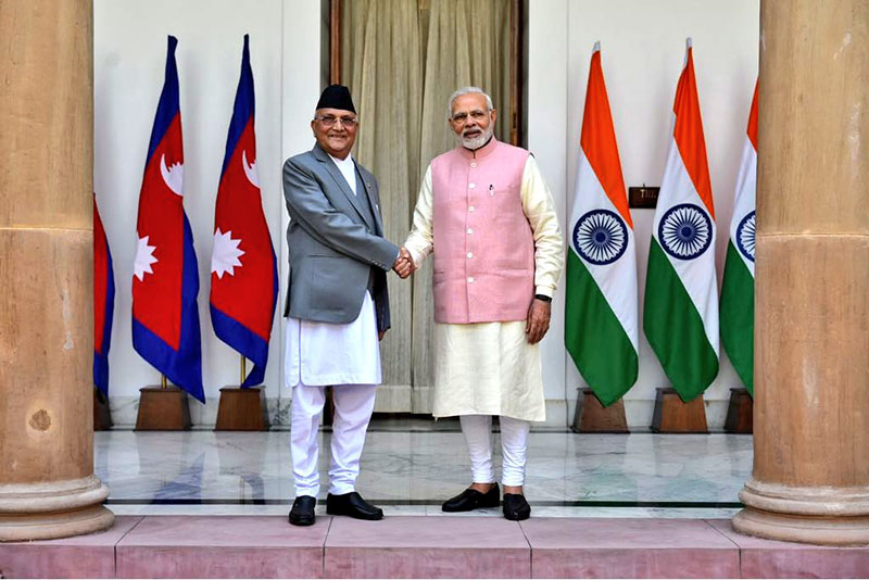 Indian Prime Minister Narendra Modi warmly welcomes Prime Minister KP Sharma Oli at Hyderabad House for delegation level talks continuing the long-standing tradition of high-level visits, in New Delhi, on Saturday, April 7, 2018. Photo: MEAIndia/Twitter