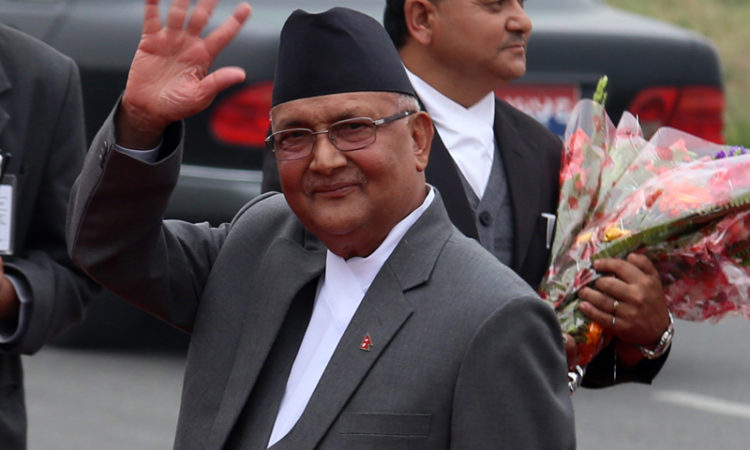 FILE: PM Oli at Tribhuvan International Airport.