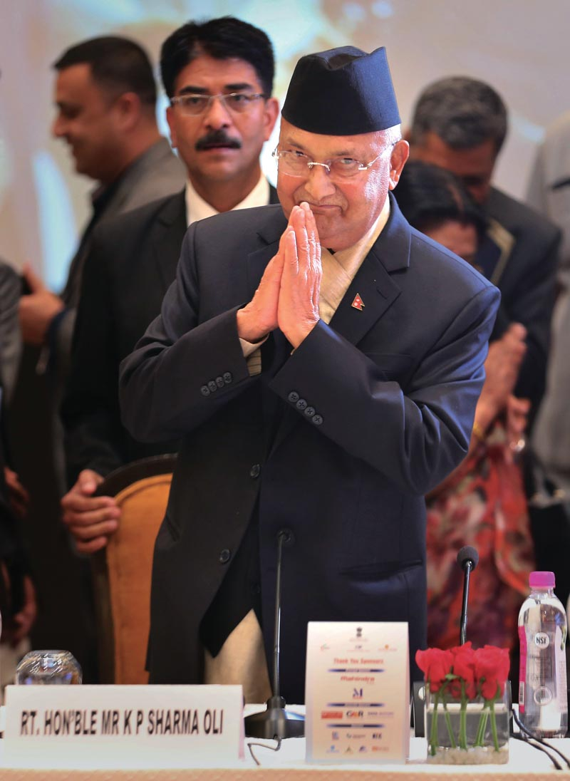 FILE: Nepalese Prime Minister Khadga Prasad Oli arrives for the inaugural ceremony of the India-Nepal business forum in New Delhi, India, on Friday, April 6, 2018. Photo: AP
