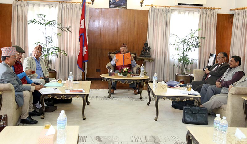 Left alliance Senior leaders Ishwor Pokharel, Ram Bahadur Thapa, Madhav Kumar Nepal, KP Sharma Oli, Pushpa Kamal Dahal and Narayan Kaji Shreshta (from left) from both CPN-UML and CPN Maoist Centre, who are also members of the Party Unification Coordination Committee attend a meeting, at Prime Minister Oli's official residence in Baluwatar, Kathmandu, on Tuesday, April 17, 2018. Photo: RSS