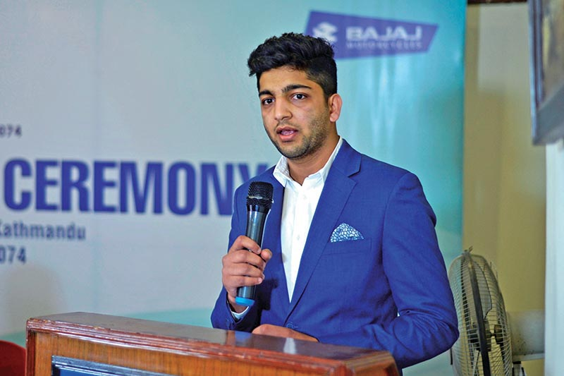 Abhimanyu Golchha, Director of Hansraj Hulaschand and Co Pvt Ltd, speaks during a press meet of Pulsar Sports Award in Kathmandu on Tuesday. Photo: THT