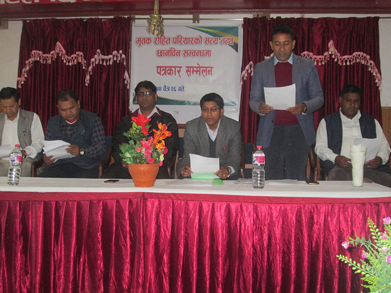 Press meet organised by deceased Rohit Pariyar's relatives, in Pokhara, on Monday, April 9, 2018. Photo: Rishi Ram Baral