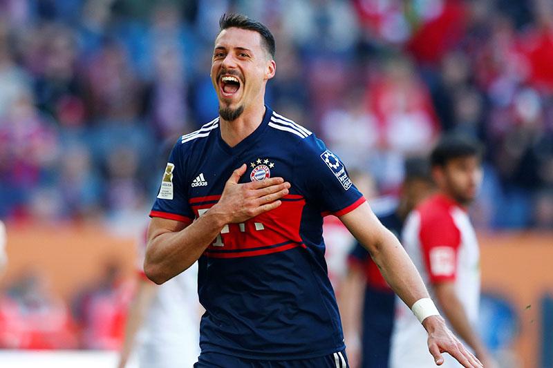 Bayern Munich's Sandro Wagner celebrates scoring their fourth goal. Photo: Reuters
