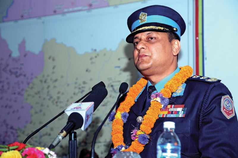 Inspector General of Police Sarbendra Khanal addressing a function at Nepal Police headquarters, in Kathmandu, on Thursday, April 13, 2018. Photo: AP