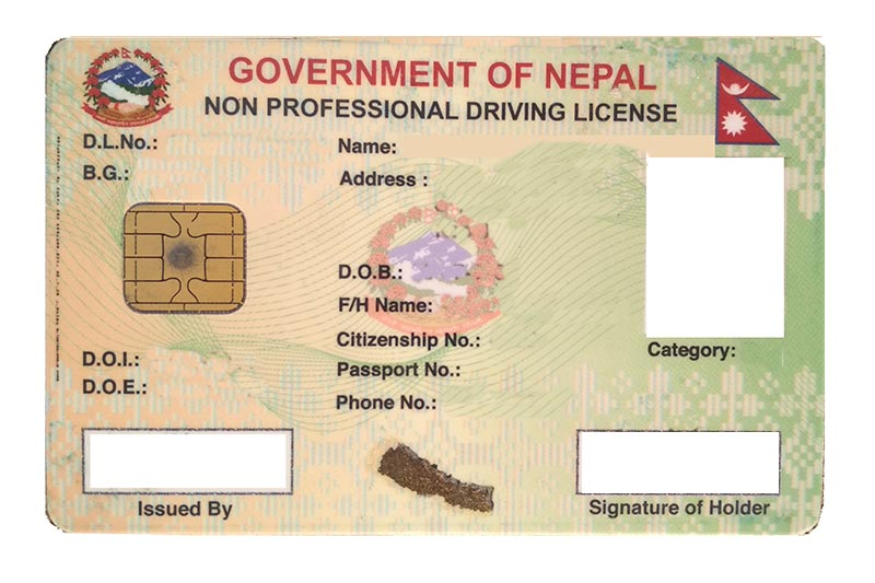 The image shows the specimen of smart driving licence of Nepal, in Kathmandu, on September 26, 2017. Photo: Suresh Chaudhary/THT