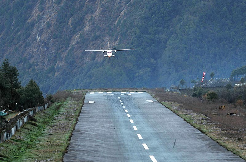 A Privet aircraft taxis lands at the Tenzing-Hillary Airport in Lukla, some 140 km northeast of Kathmandu, on April 13, 2018. Lukla is known as the gateway to Mount Everest. Photo: AFP