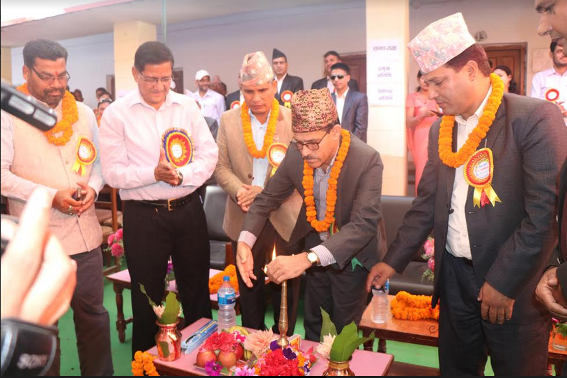 Chief Minister of Province 7 Trilochan Bhatta inaugurating a ceremony to mark the 38th anniversary of Kailali Multiple Campus, Kailali, on April 13, 2018.