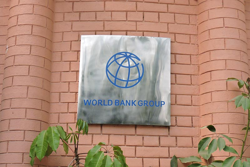 The Logo of World Bank Group is pictured in Kathmandu, Nepal, on April 2, 2018. Photo: Sandeep Sen