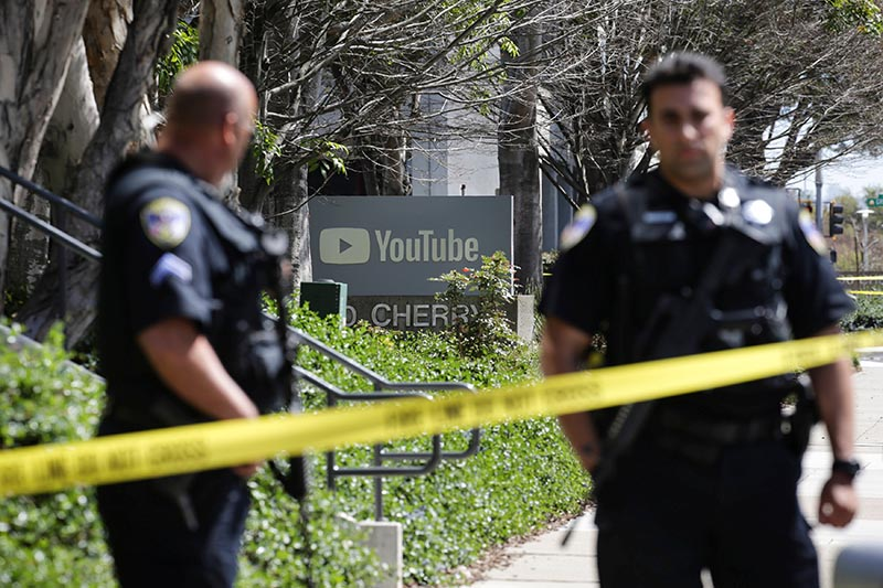 FILE: Police officers and crime scene tape are seen at Youtube headquarters following an active shooter situation in San Bruno, California, US, on April 3, 2018. Photo: Reuters