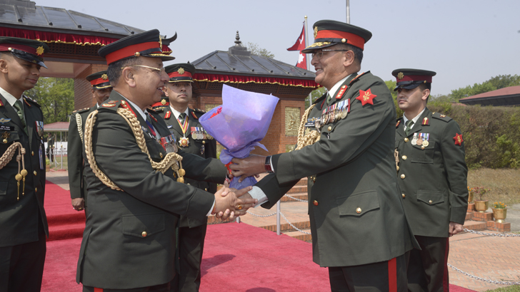 Chief of Army Staff Rajendra Chhetri leaves for DR Congo, South Sudan on Monday. CGS Lt. Gen Purna Chandra Thapa sees him off at the airport. Photo: Nepal Army