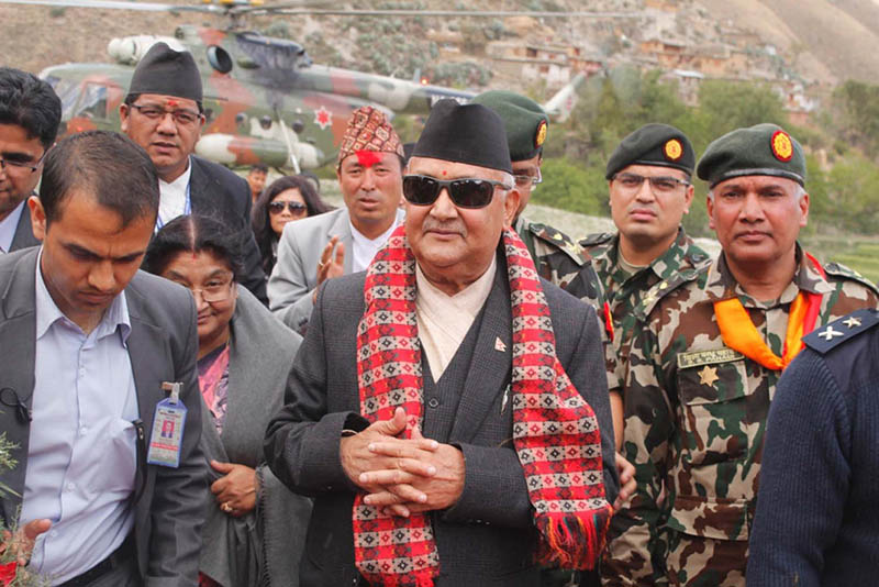Prime Minister KP Sharma Oli arrive in Dolpa, on Friday, April 13, 2018. The PM heads for Mugu to inaugurate Karnali-Rara Tourism Year-2075 BS on Nepali New Year on Saturday. Photo: RSS