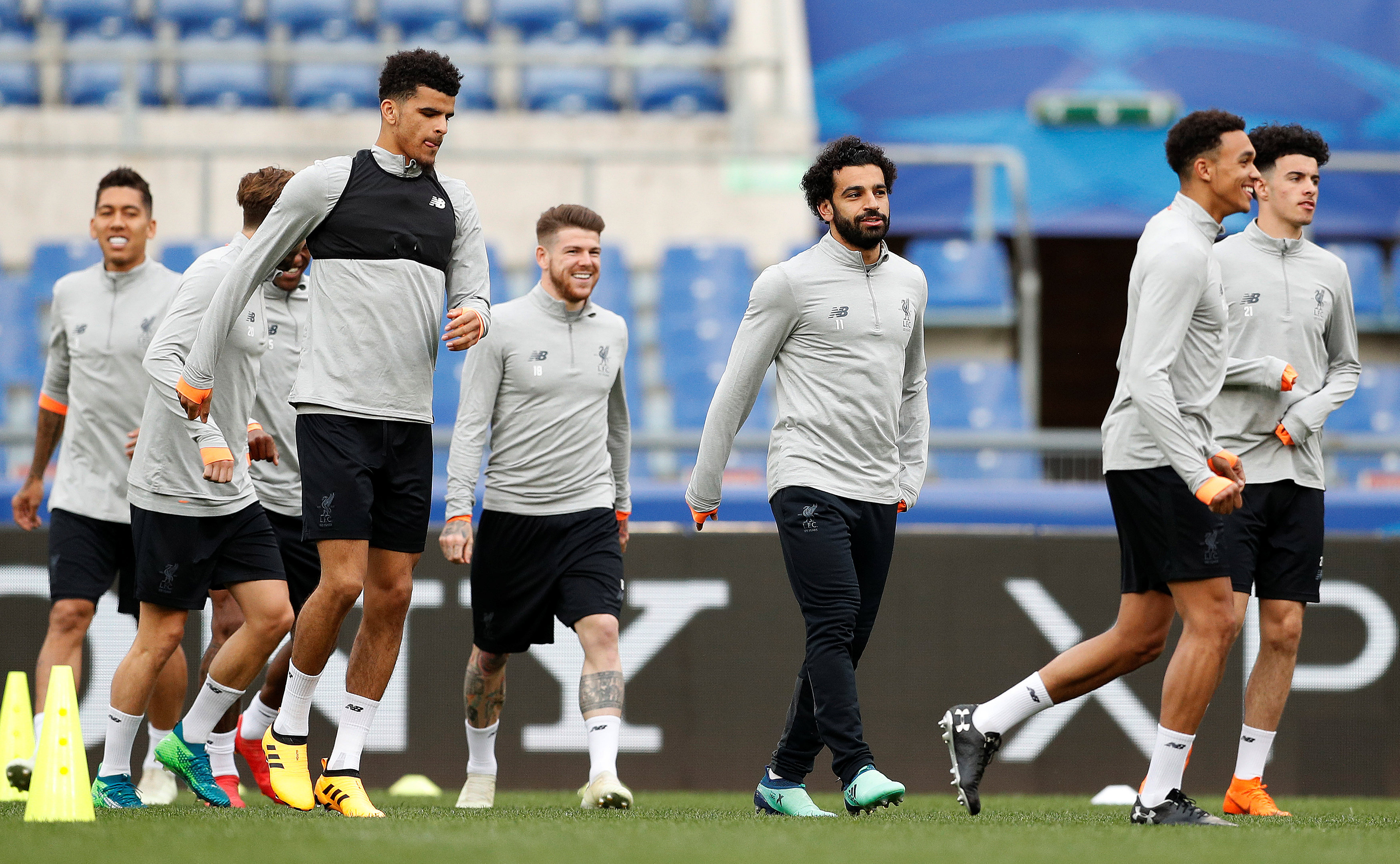 Soccer Football - Champions League - Liverpool Training - Stadio Olimpico, Rome, Italy - May 1, 2018   Liverpool's Dominic Solanke, Mohamed Salah and team mates during training   Action Images via Reuters/John Sibley
