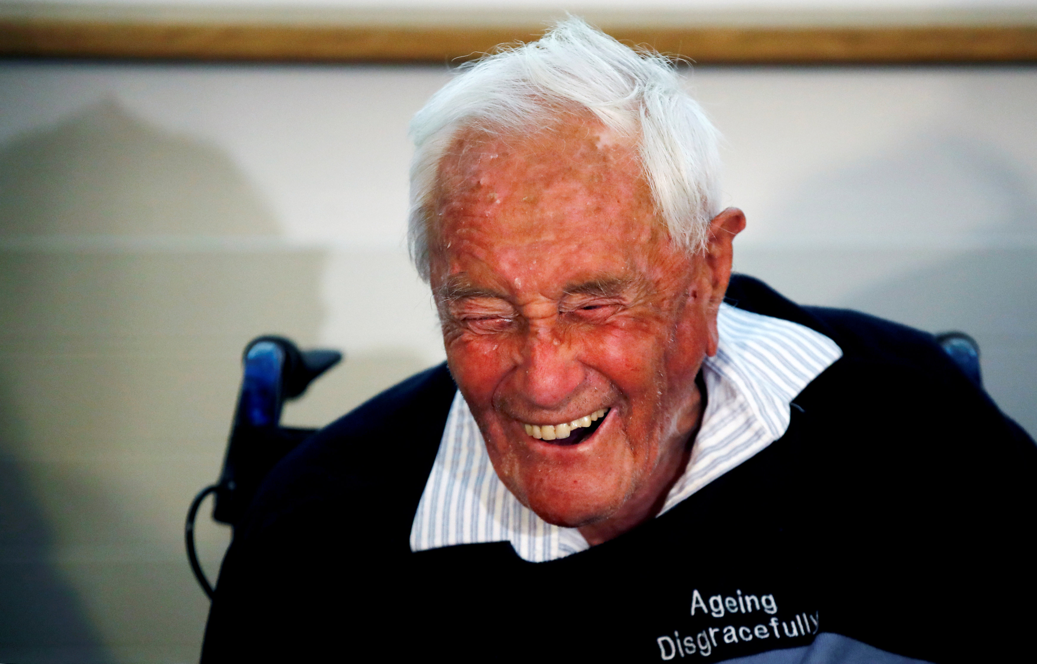 David Goodall, 104, reacts during a news conference a day before he intends to take his own life in assisted suicide, in Basel, Switzerland May 9, 2018. Photo: REUTERS