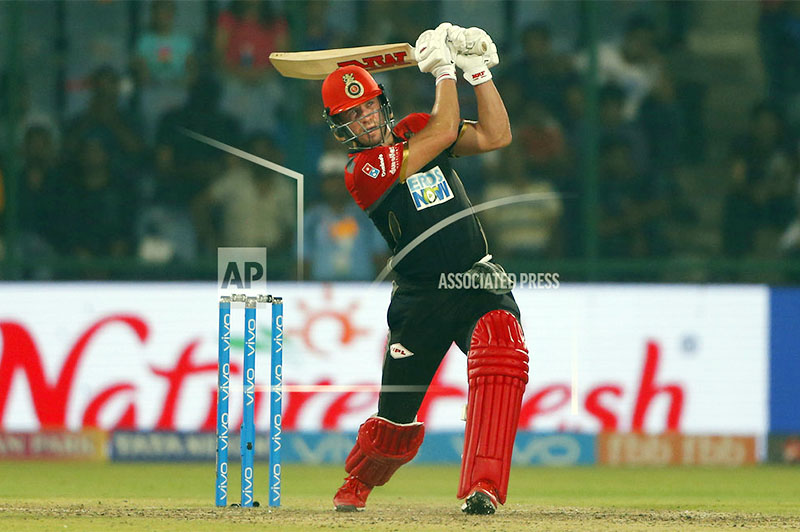 Royal Challengers Bangalore player AB de Villiers plays a shot during the VIVO IPL cricket T20 match against Delhi Daredevils in New Delhi, India, Saturday, May 12, 2018. Photo: AP