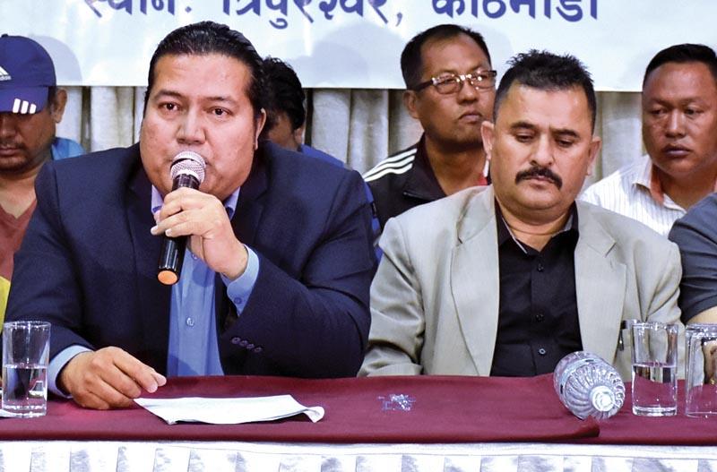 FILE: ANFA Senior Vice-president Mani Kunwar and Kanchanpur District FA President Ganesh Bahadur Chand (right) at press meet in Kathmandu on Friday, May 4, 2018. Photo: THT