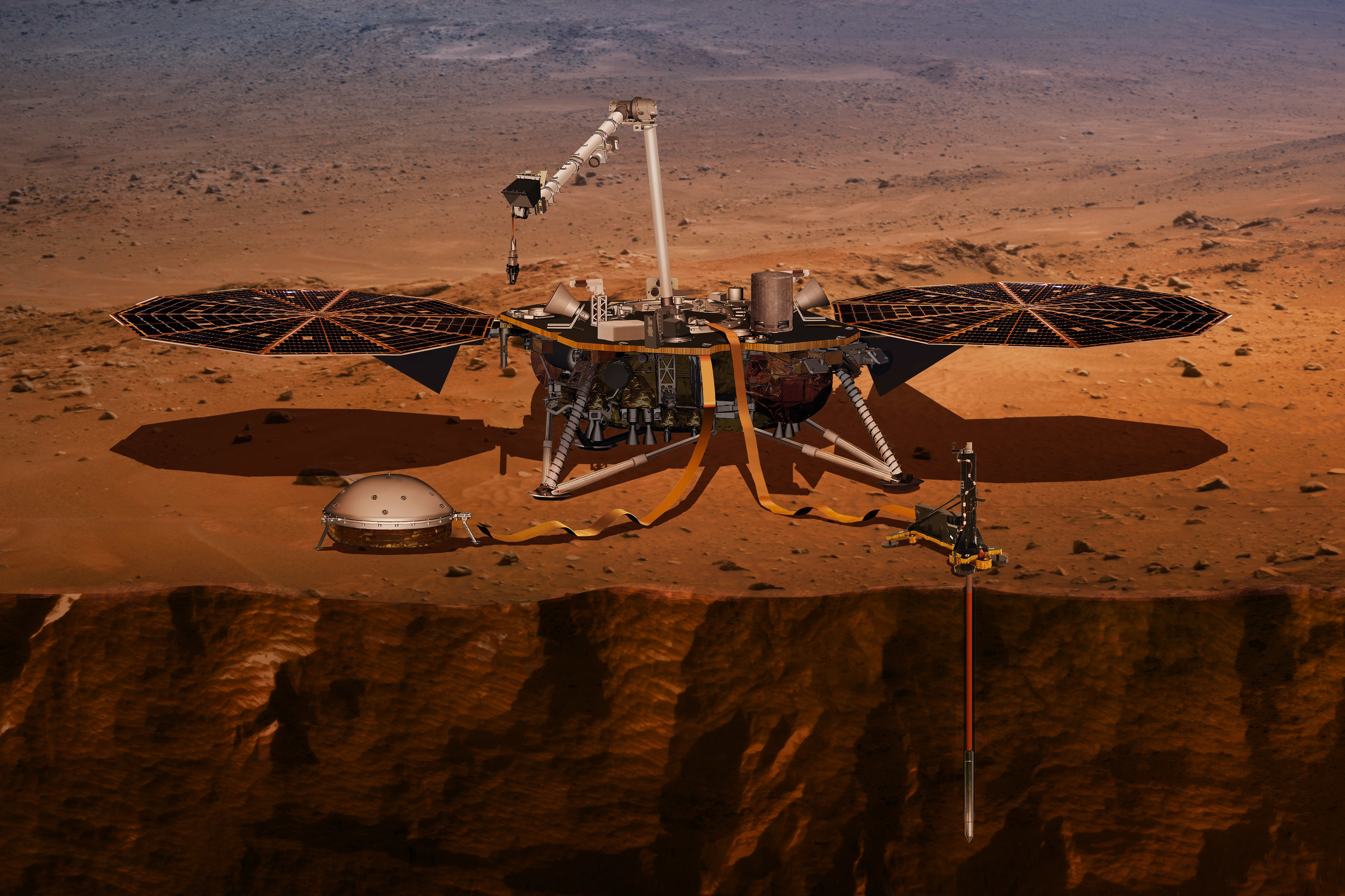This illustration made available by NASA in 2018 shows the InSight lander drilling into Mars. InSight, short for Interior Exploration using Seismic Investigations, Geodesy and Heat Transport, was launched from Vandenberg Air Force Base on Saturday, May 5, 2018. It will land on Mars six months later. PHOTO: NASA Via AP