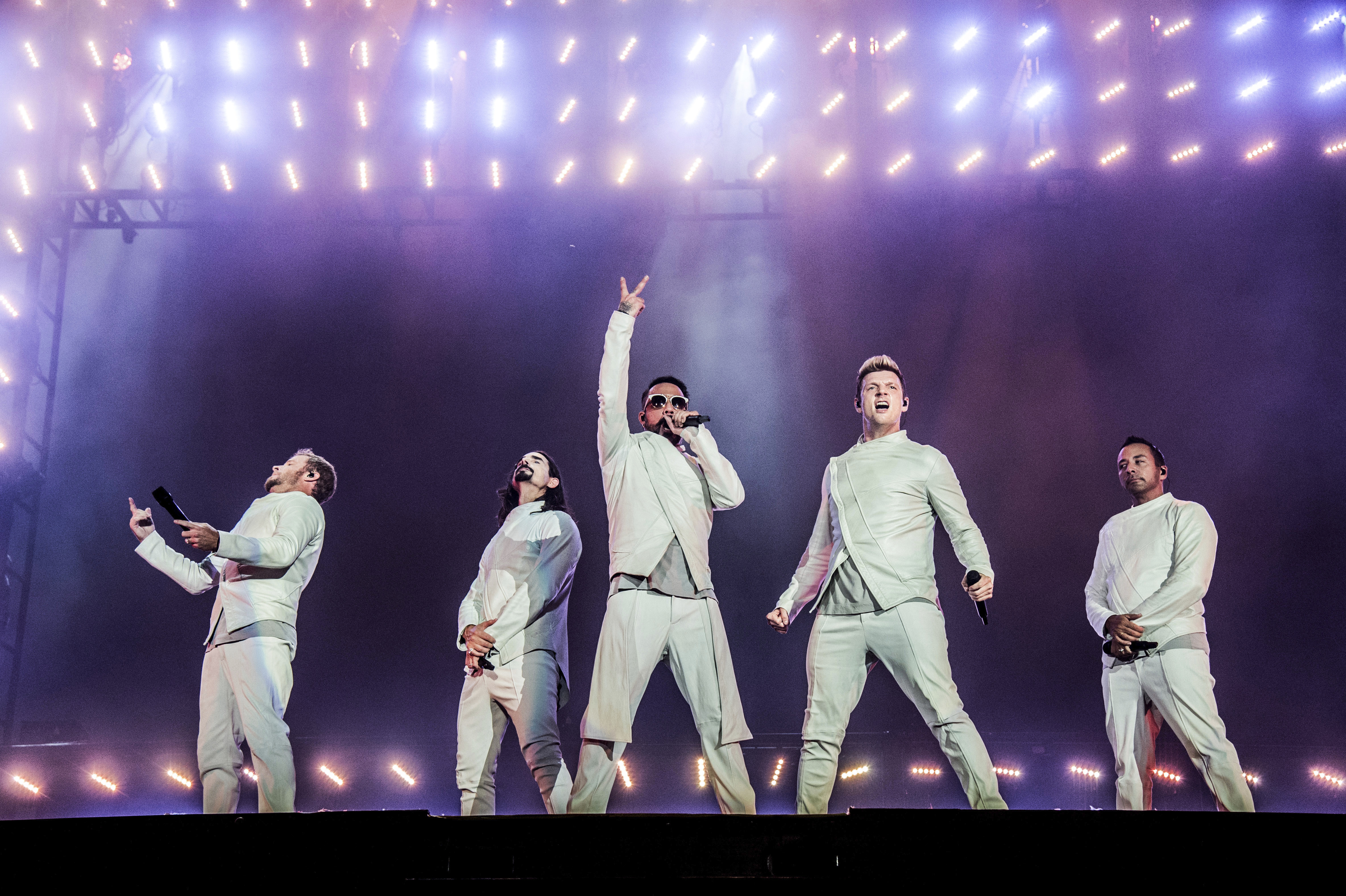 FILE - In this  July 9, 2017, file photo, Brian Littrell, from left, Kevin Richardson, AJ McLean, Nick Carter and Howie Dorough of the Backstreet Boys perform during the Festival d'ete de Quebec in Quebec City, Canada. The Backstreet Boys have a new single. They released u201cDonu2019t Go Break My Heartu201d on Thursday, May 17, 2018, along with a video. Photo: AP