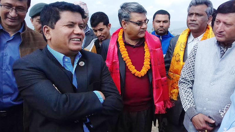 Minister for Culture, Tourism and Civil Aviation Rabindra Adhikari holding discussion with stakeholders in Nagidanda of Banepa, Kavre, on Tuesday, May 1, 2018. photo: THT