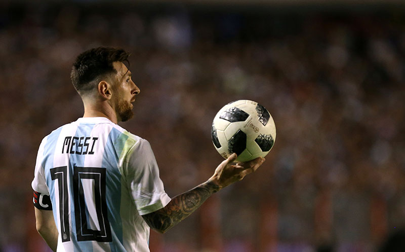 Argentina's Lionel Messi during International Friendly match between Argentina and Haiti, at La Bombenera, Buenos Aires, Argentina, on May 29, 2018. Photo: Reuters