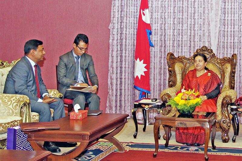 BIMSTEC General Secretary Shahidul Islam (left) meeting with Nepal's President Bidya Devi Bhandari in Kathmandu, on Wednesday, May 30, 2018. Courtesy: President's Office