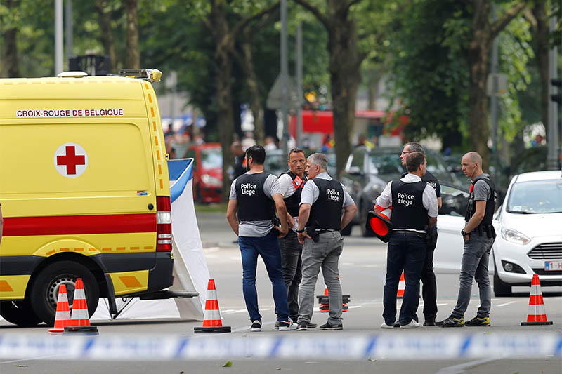 Police officers are seen on the scene of a shooting in Liege, Belgium, May 29, 2018. Photo: Reuters