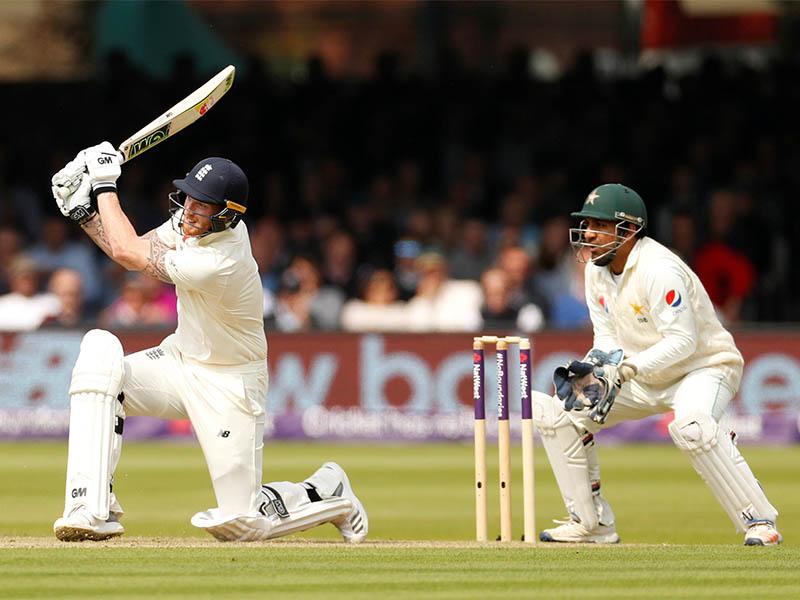 England's Ben Stokes hits a six. Photo: Reuters