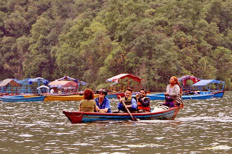 Tourists enjoying boating in Phewa Lake in Pokhara Lekhnath Metropolitan City, on Tuesday, May 29, 2018. Photo: RSS