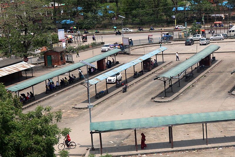 Butwal Bus Park wears a desert look after transport entrepreneurs across nation protest government decision of ending syndicate, in Butwal Sub Metropollitan City, on Friday, May 04, 2018. Photo: RSS