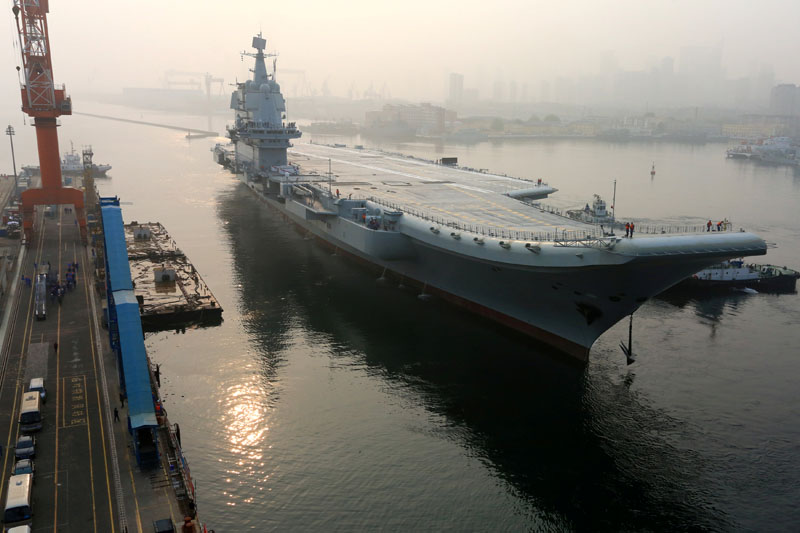 China's first domestically developed aircraft carrier departs Dalian, Liaoning province, China, on  May 13, 2018. Photo: Reuters