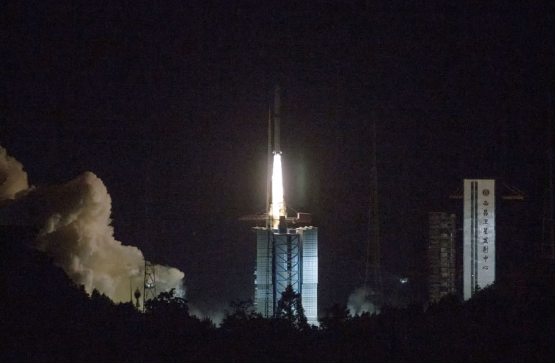 Long March-4C rocket carrying a relay satellite, named Queqiao (Magpie Bridge), is launched from southwest China's Xichang Satellite Launch Center, on Monday, May 21, 2018. Photo: Associated Press