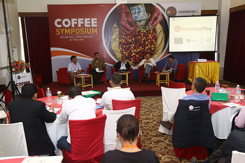 Participants of Coffee Symposium organised by ICCO Cooperation, in Lalitpur, on Thursday, May 24, 2018. Photo Courtesy: ICCO Coopertaion