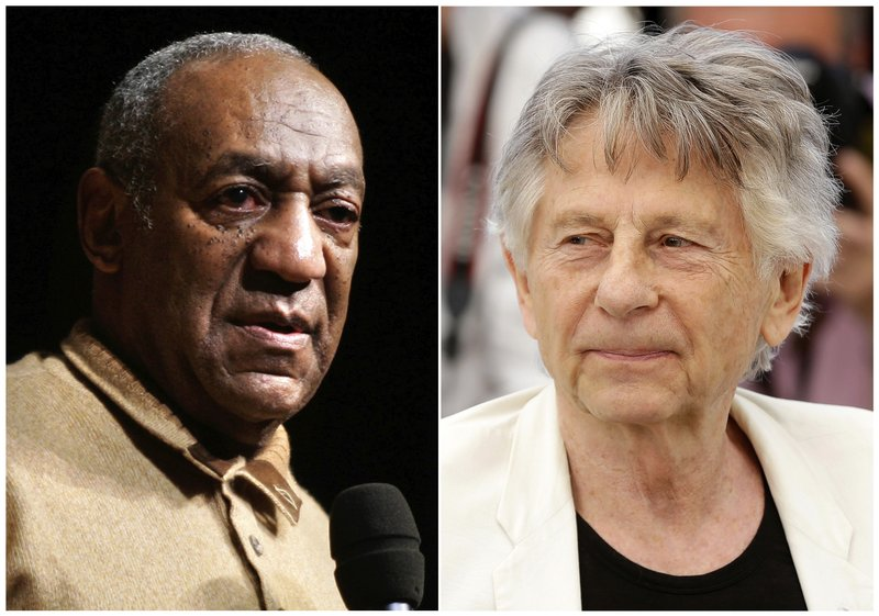 In this combination photo, Bill Cosby speaks to an audience on the campus of University of the District of Columbia in Washington on May 16, 2006 , left, and director Roman Polanski appears at the photo call for the film, u201cBased On A True Story,u201d at the 70th international film festival, Cannes, southern France on May 27, 2017. Photo: AP
