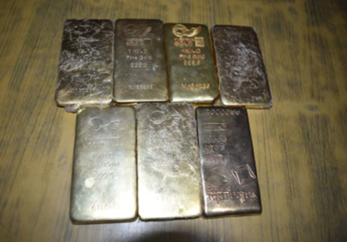 This image shows counterfeit gold bars confiscated from the possession of two persons intending to sell them. Photo: MPCD