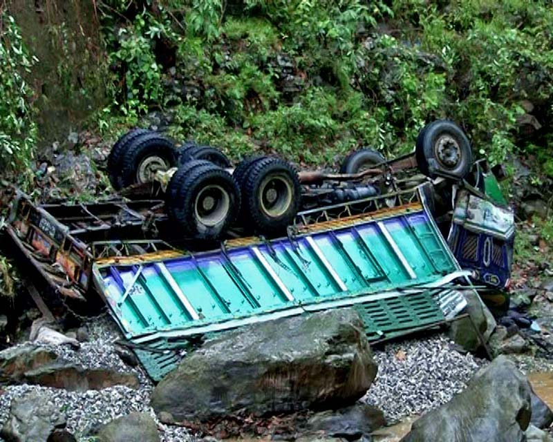 File - An image of a truck that plunged into Chyandu Khola along the Malekhu-Dhading road section of Dhading district as pictured on Thursday, May 17, 2018. Photo: Keshav Adhikari