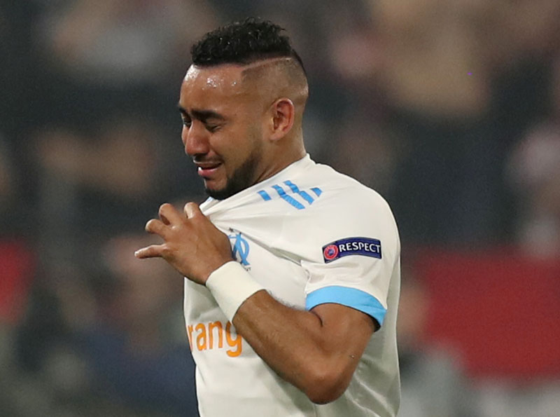 Marseille's Dimitri Payet leaves the pitch in tears as he is substituted off due to injury in Europa League Final  between Olympique de Marseille and Atletico Madrid, in Groupama Stadium, Lyon, France, on Wednesday May 16, 2018. Photo: Reuters