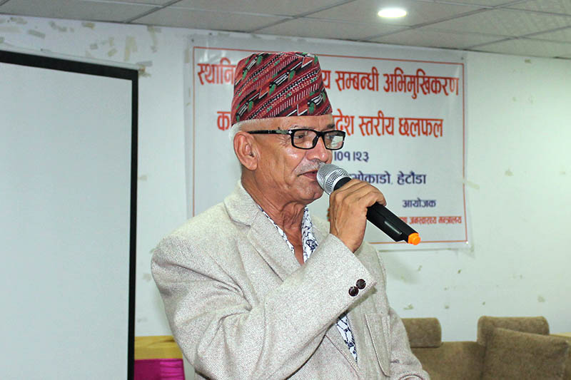 Province 3 Chief Minister Dor Mani Paudel speaking at a programme in Hetauda, on Sunday, May 06, 2018. Photo: Prakash Dahal