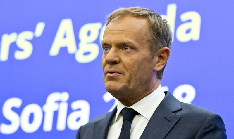 European Council President Donald Tusk speaks during a media conference prior to an EU-Western Balkans summit at the National Palace of Culture in Sofia, Bulgaria, on Wednesday, May 16, 2018. Photo: Associated Press