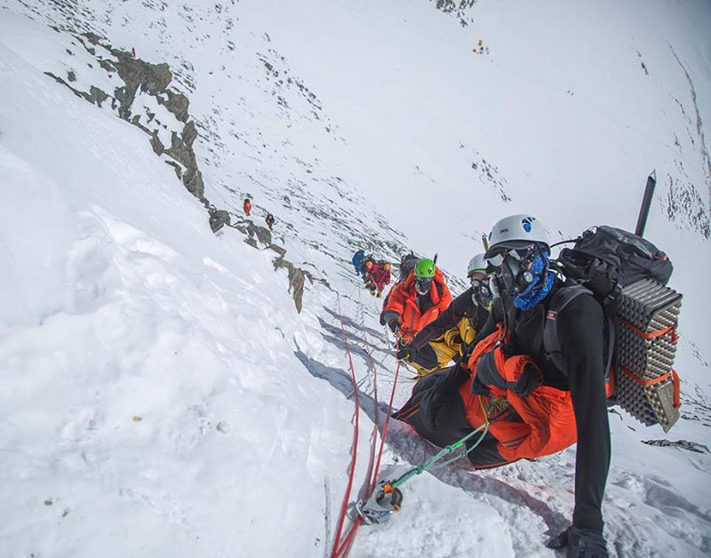 Climbers of Alpine Ascents heading to South Col from Geneva Spur on Mt Everest. Photo Courtesy: Ben Jones