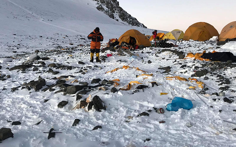 Garbage left behind by climbers at South Col on Mt Everest. Photo courtesy: Pasang Rinzee Sherpa