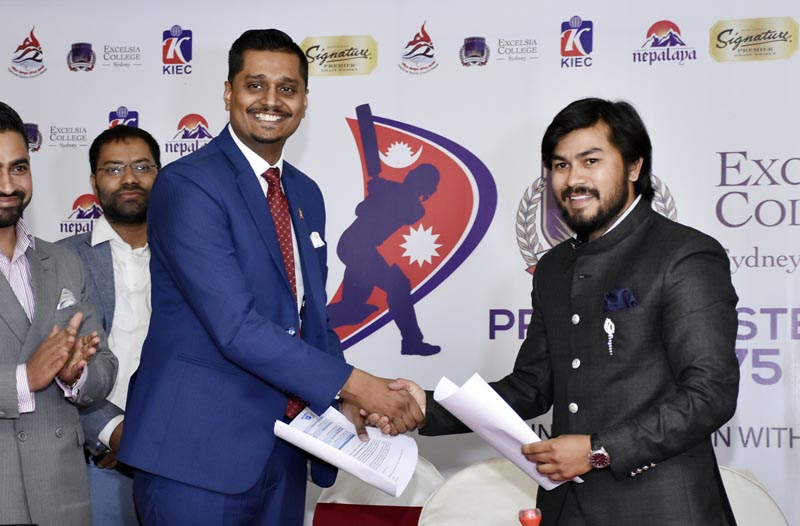 Nepalaya International MD Subash Pradhan (right) exchanges the MoU with Excelsia College Director for Marketing and Students Recruitment Boby Abrahama in Kathmandu on Friday, May 19. Photo: THT