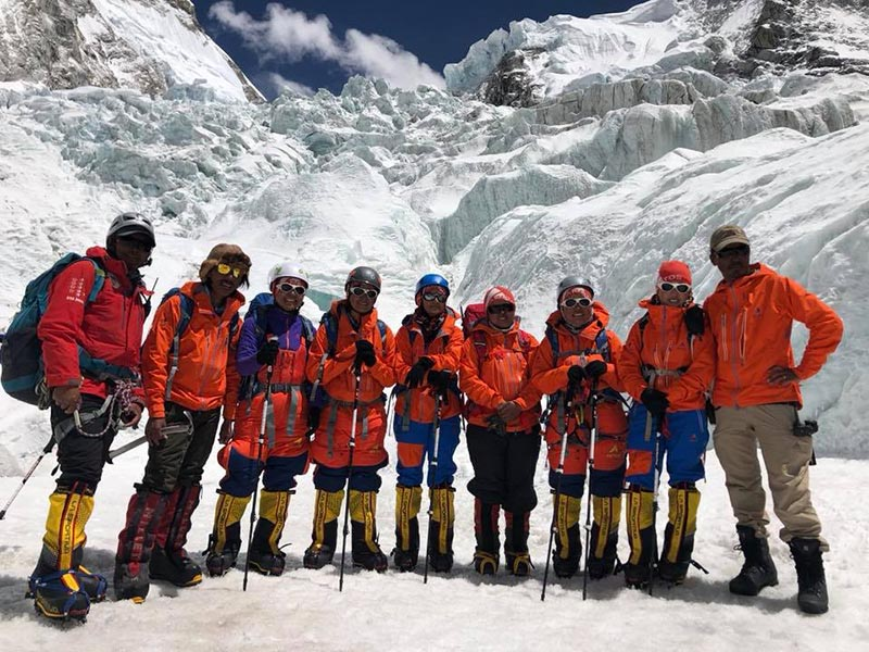 Women journalist Team members with fellow climbers at Mt Everest Base Camp.