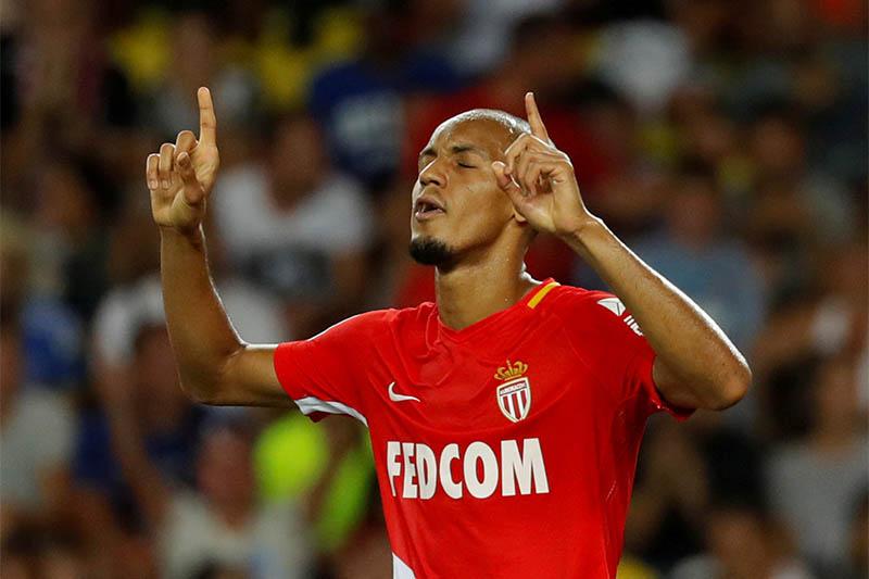Monacou2019s Fabinho celebrates scoring their sixth goal from the penalty spot. Photo: Reuters