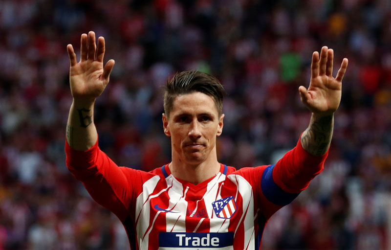 Atletico Madrid's Fernando Torres after his final match for Atletico Madrid, at  Wanda Metropolitano, Madrid, Spain, on May 20, 2018. Photo: Reuters
