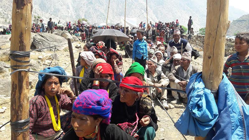 Locals waiting to receive treatment at a free eye camp in Himali Rural Municipality, Bajura, in this recent picture. Photo: THT